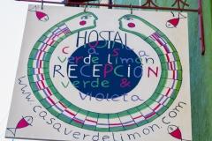 Werbeschild vom Hostel