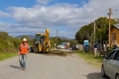 Nationalpark Chiloé - Straßenbauarbeiten auf dem Rückweg blockieren hier einfach mal die Straße