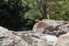 Straße der sieben Seen - Provinz Neuquén in Argentinien - mit Klettern auf den Felsen
