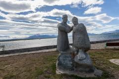 Puerto Natales - ein Denkmal für Alberto de Agostini, einem Wissenschaftler