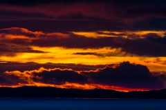 Der erste Sonnenuntergang, noch im Beagle Kanal