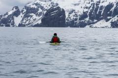 Point Wild, Elephant Island: ein einsamer Kayaker