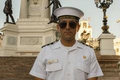 Marinesoldat hält Wache.