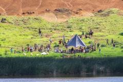 "Tapati Rapa Nui - ""Triathlon"" am Rano Raraku - am anderen Seeufer"
