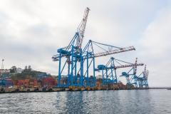 Hier kommen auch ganz schon große Containerschiffe an.