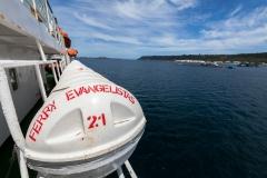 Das erste was auf der Fähre auffiel: Rettungsboote ;-)