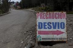 Ushuaia - diese Umleitung um ein offenes Kanalrohr gibt es offenbar schon lange :-)
