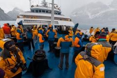 im Drygalski Fjord - der Bud ist voll - trotz des Wetters
