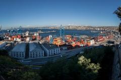 Blick über den Hafen in Valparaiso.
